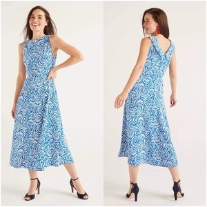 Boden Clarissa Midi Dress Bold Blue Fern Swirl